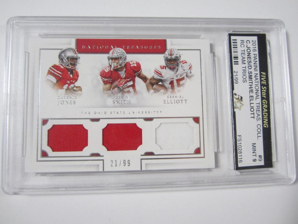 Lot 49: 2016 PANINI NATIONAL TREAS.COLL JONES,SMITH,ELLIOTT TRIPLE PIECE OF GAME USED JERSEY CARD GRADED MINT 9