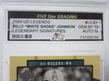 "Lot 50: 2004 UD LEGENDS BILLY ""WHITE SHOES""JOHNSON LEGENDARY SIGNATURES GRADED GEM MINT 10 AUTO 10"