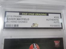 Lot 52: 2018 PANINI BAKER MAYFIELD RC SIGNED AUTOGRAPHED GRADED AUTHENTIC
