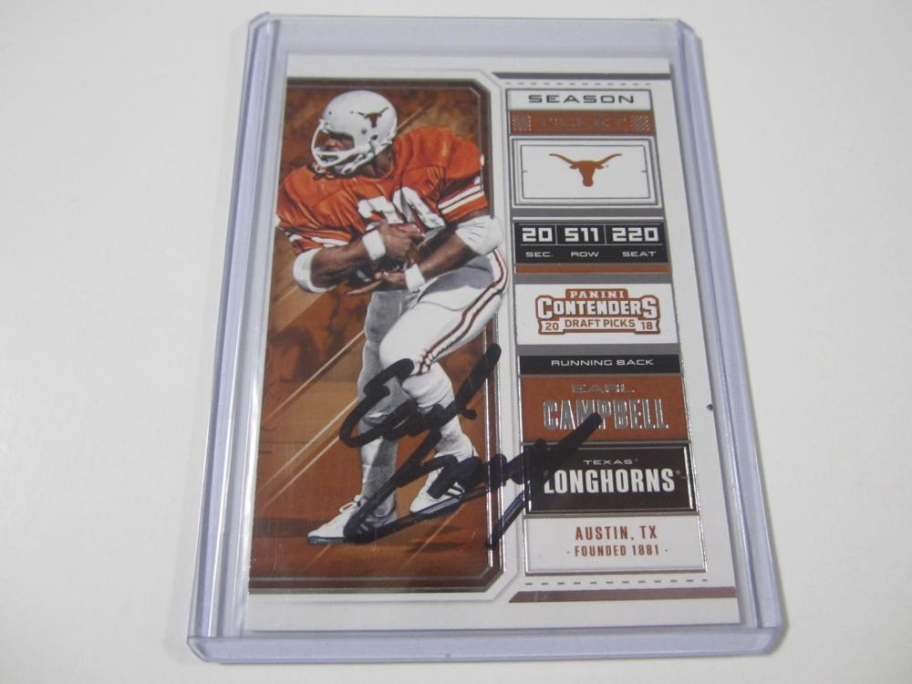 Lot 54: EARL CAMPBELL SIGNED AUTOGRAPHED LONGHORNS CARD COA