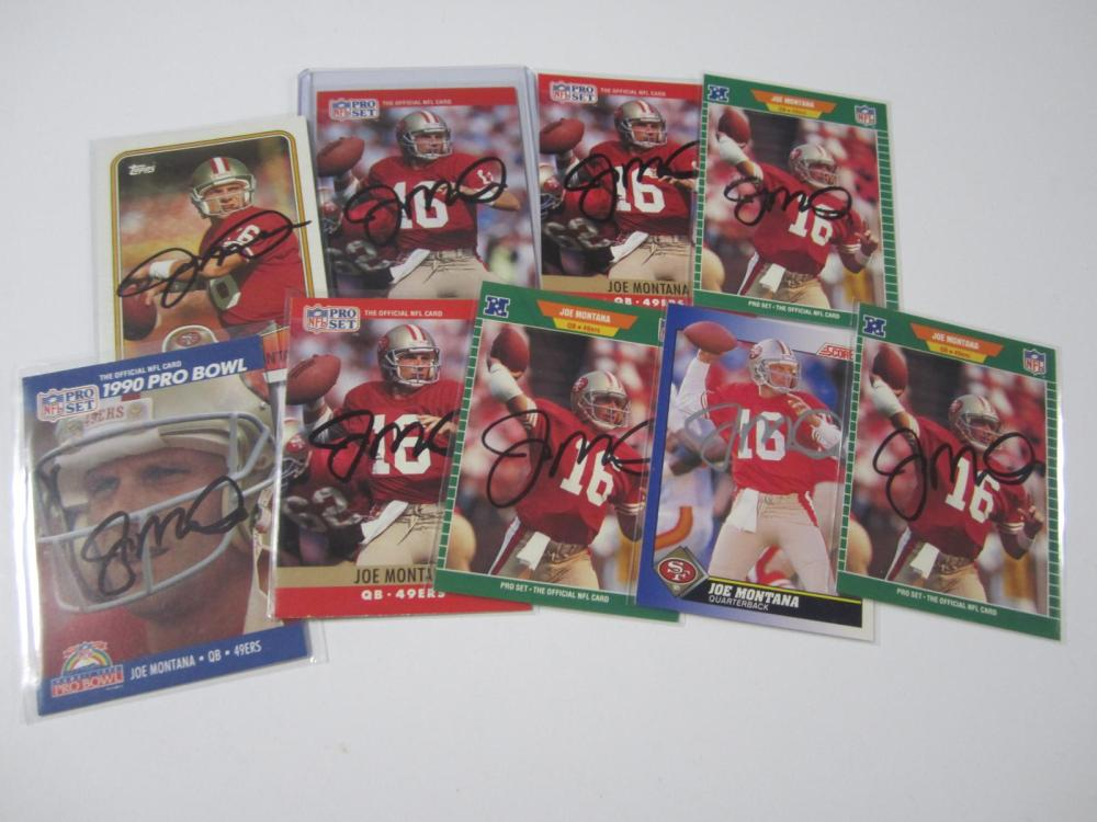 Lot 55: (9)JOE MONTANA SIGNED AUTOGRAPHED 49ERS CARDS COA