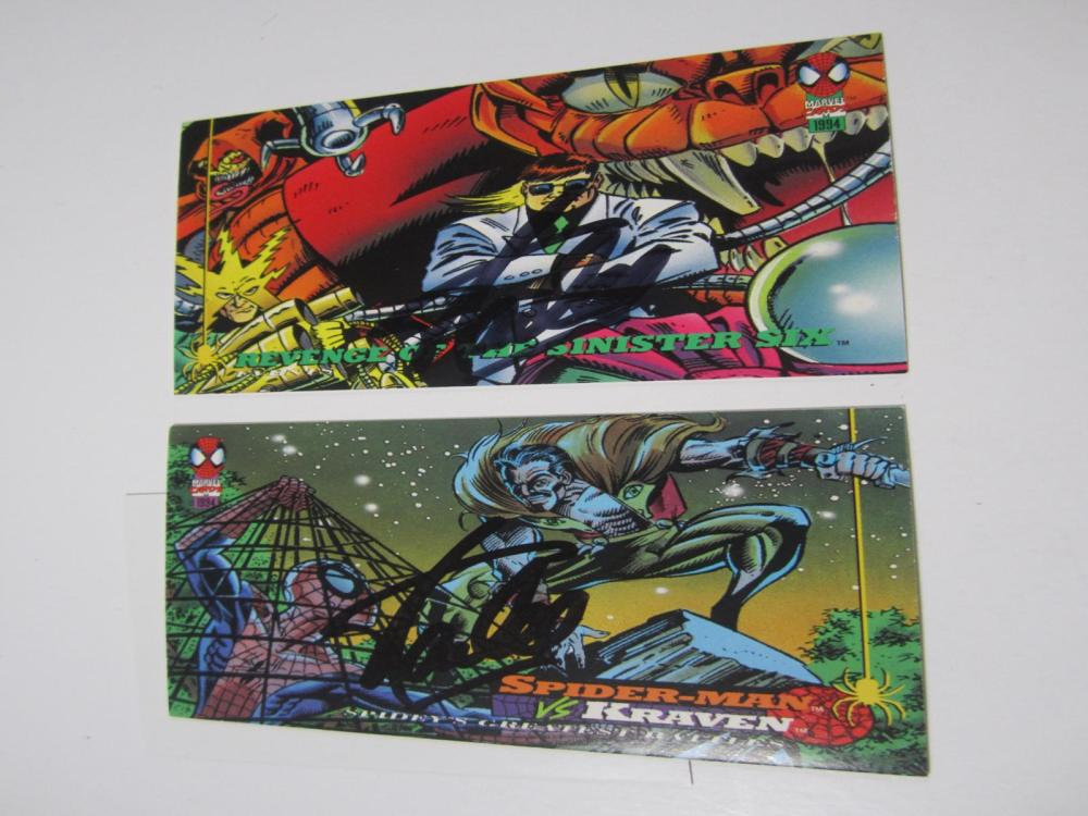(2)STAN LEE SIGNED AUTOGRAPHED MARVEL CARDS COA