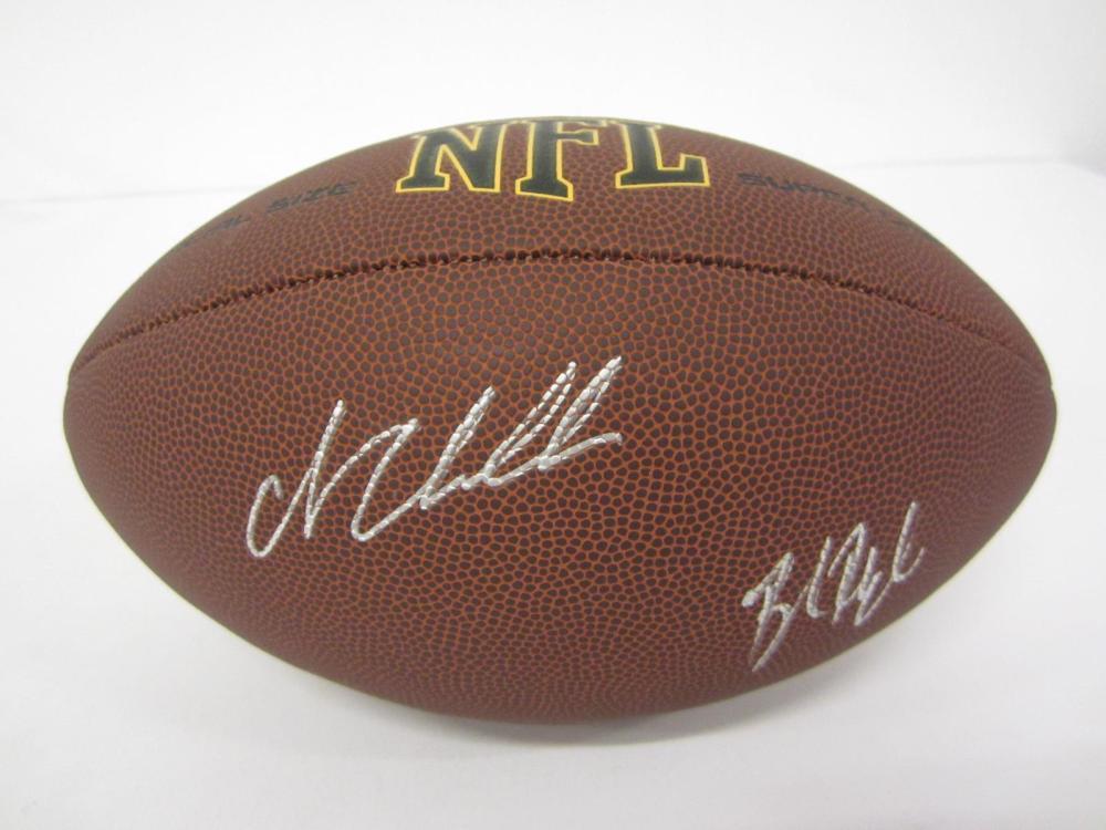 Lot 79: NICK CHUBB,BAKER MAYFIELD SIGNED AUTOGRAPHED NFL SUPER GRIP FOOTBALL COA