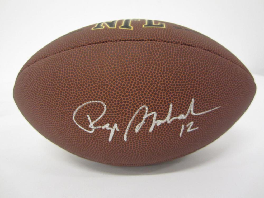 Lot 80: ROGER STAUBACH SIGNED AUTOGRAPHED NFL SUPER GRIP FOOTBALL COA