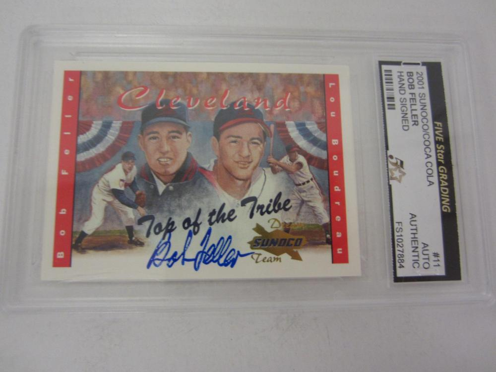2001 SUNOCO/COCA COLA BOB FELLER SIGNED AUTOGRAPHED GRADED AUTHENTIC CARD