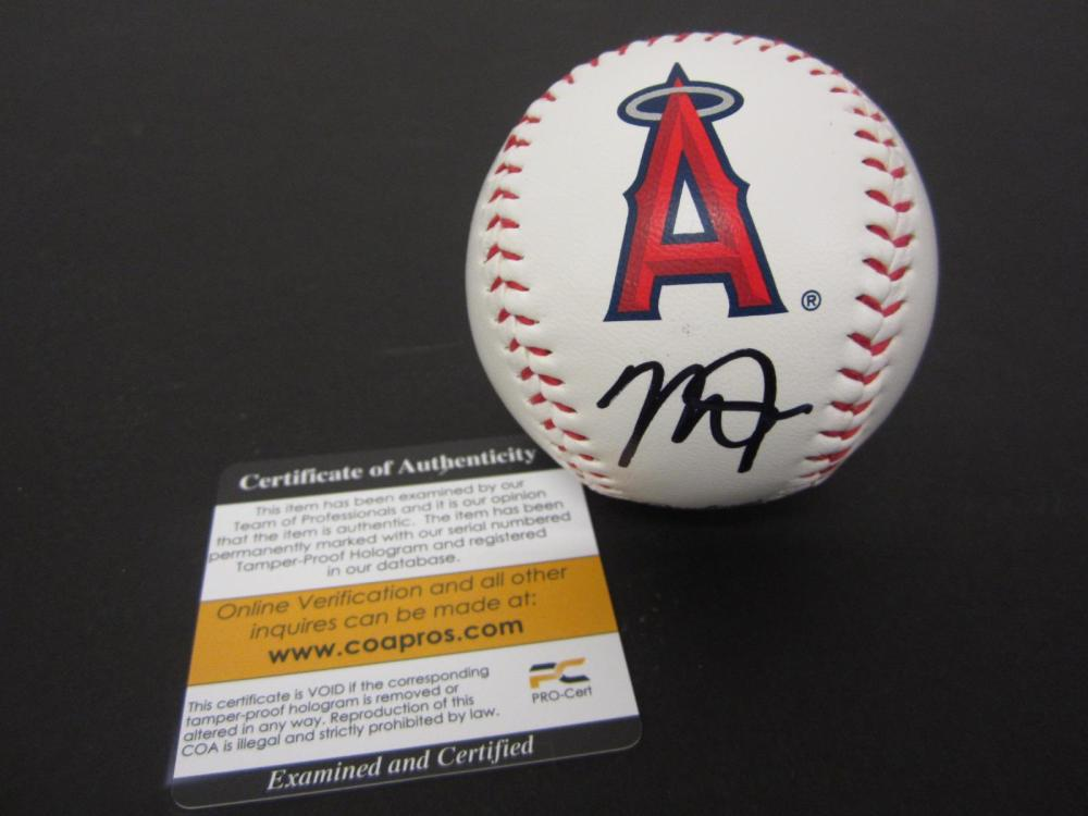 MIKE TROUT SIGNED AUTOGRAPHED ANGELS BASEBALL COA