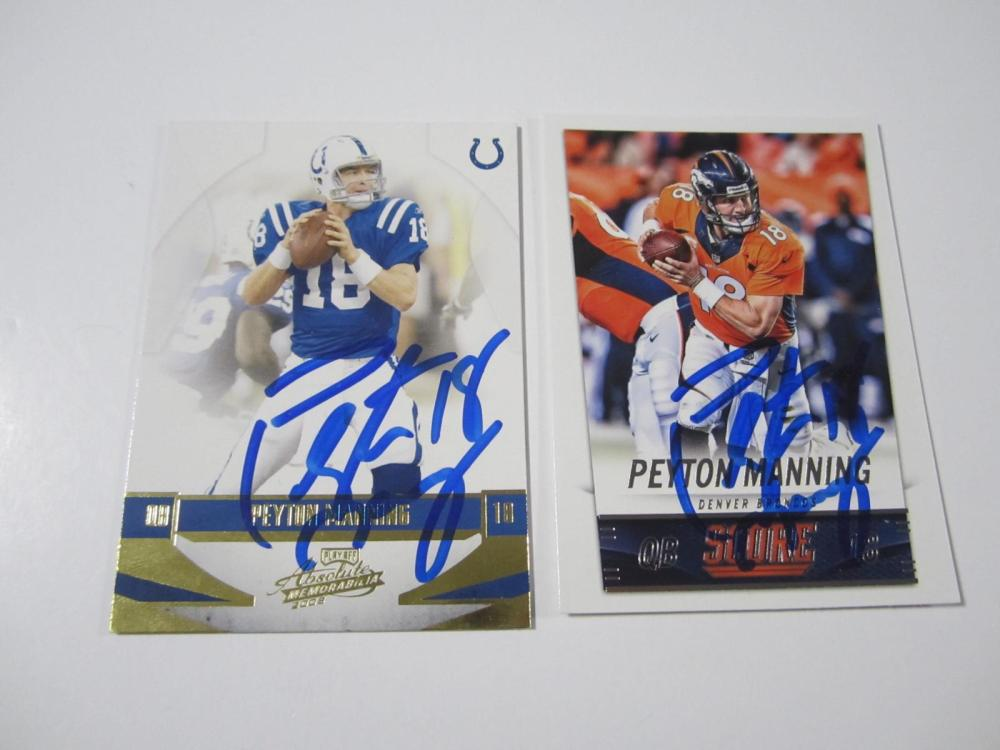 Lot 152: (2)PEYTON MANNING SIGNED AUTOGRAPHED BRONCOS,COLTS CARDS COA