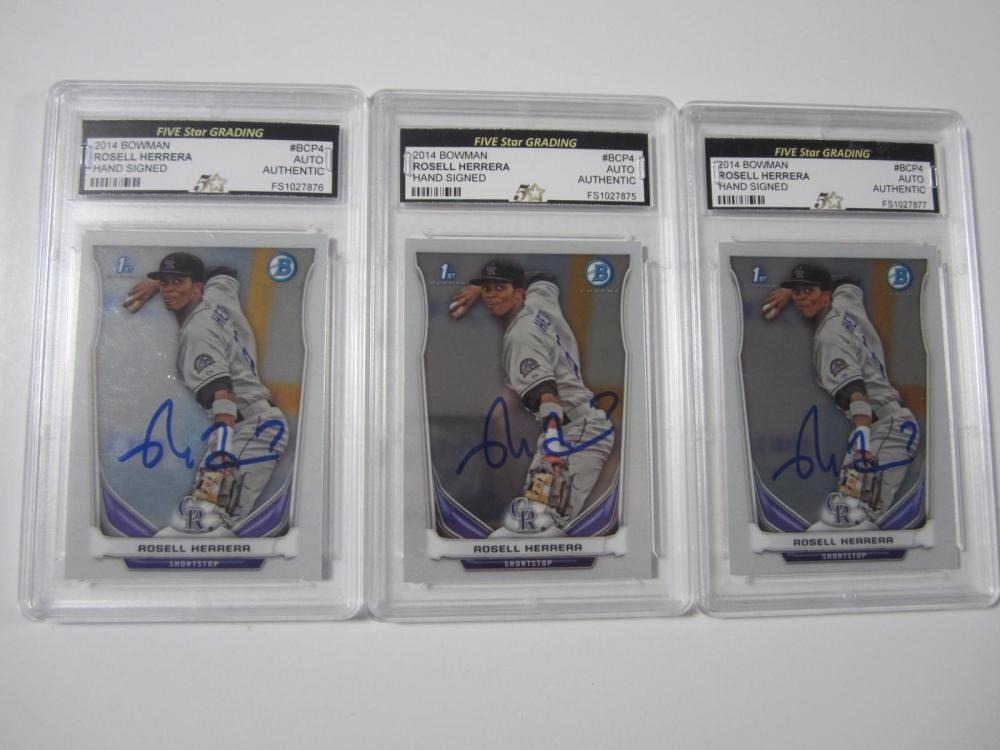 (3)ROSELL HERRERA SIGNED AUTOGRAPHED GRADED AUTHENTIC CARDS