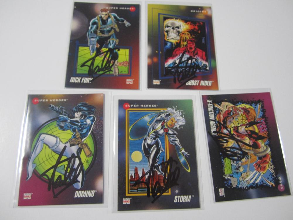 Lot 156: (5)STAN LEE SIGNED AUTOGRAPHED MARVEL CARDS COA
