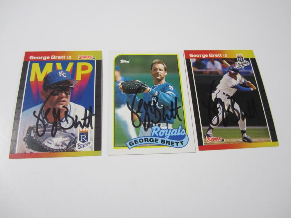 (3)GEORGE BRETT SIGNED AUTOGRAPHED ROYALS CARDS COA