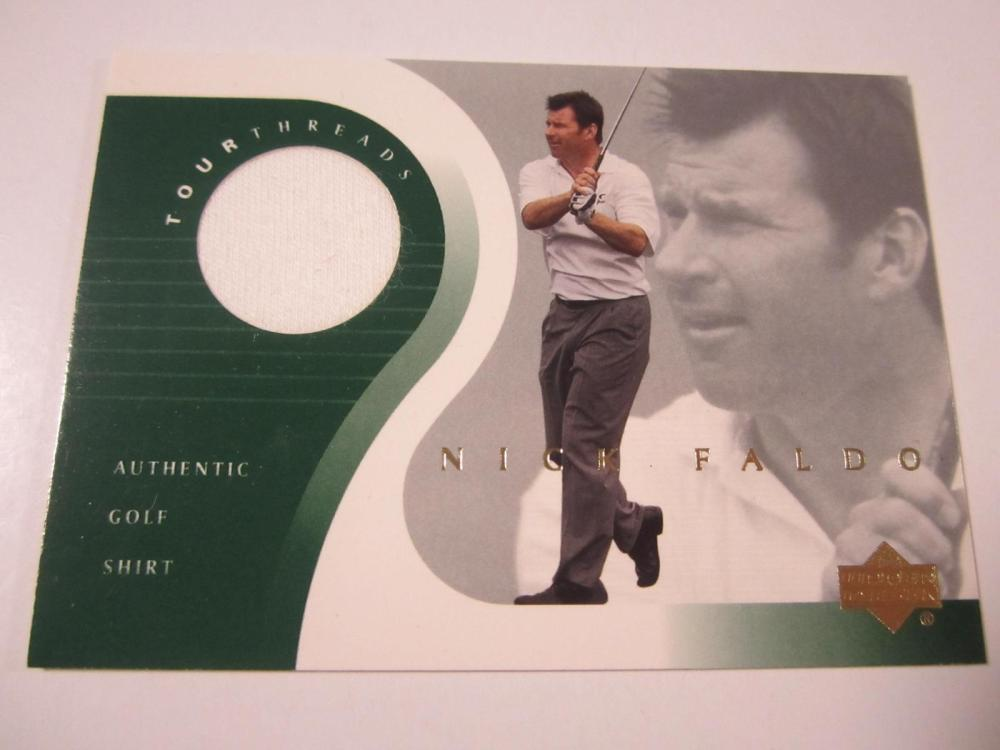 2001 UPPERDECK GOLF NICK FALDO PIECE OF GAME USED SHIRT CARD