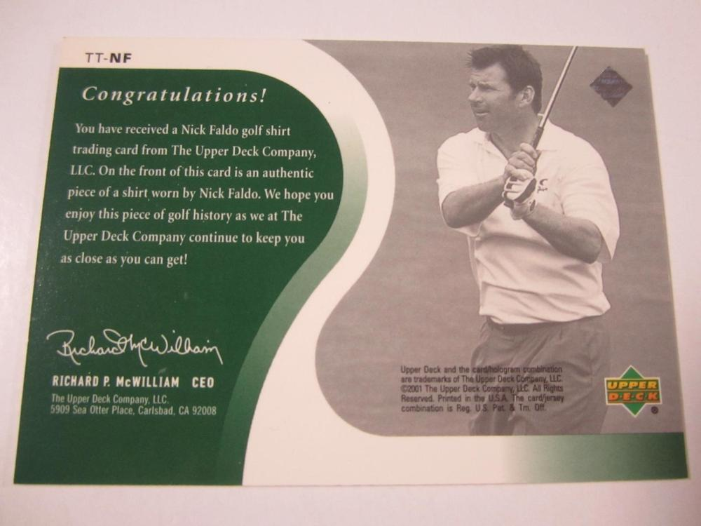Lot 162: 2001 UPPERDECK GOLF NICK FALDO PIECE OF GAME USED SHIRT CARD