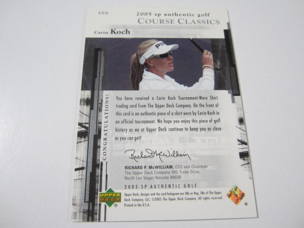 Lot 163: 2005 UPPERDECK GOLF CARIN KOCH PIECE OF GAME USED SHIRT CARD