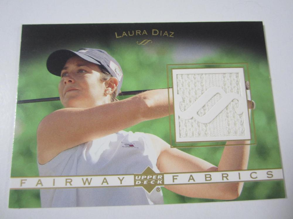 Lot 168: 2003 UPPERDECK GOLF LAURA DIAZ PIECE OF GAME USED SHIRT CARD