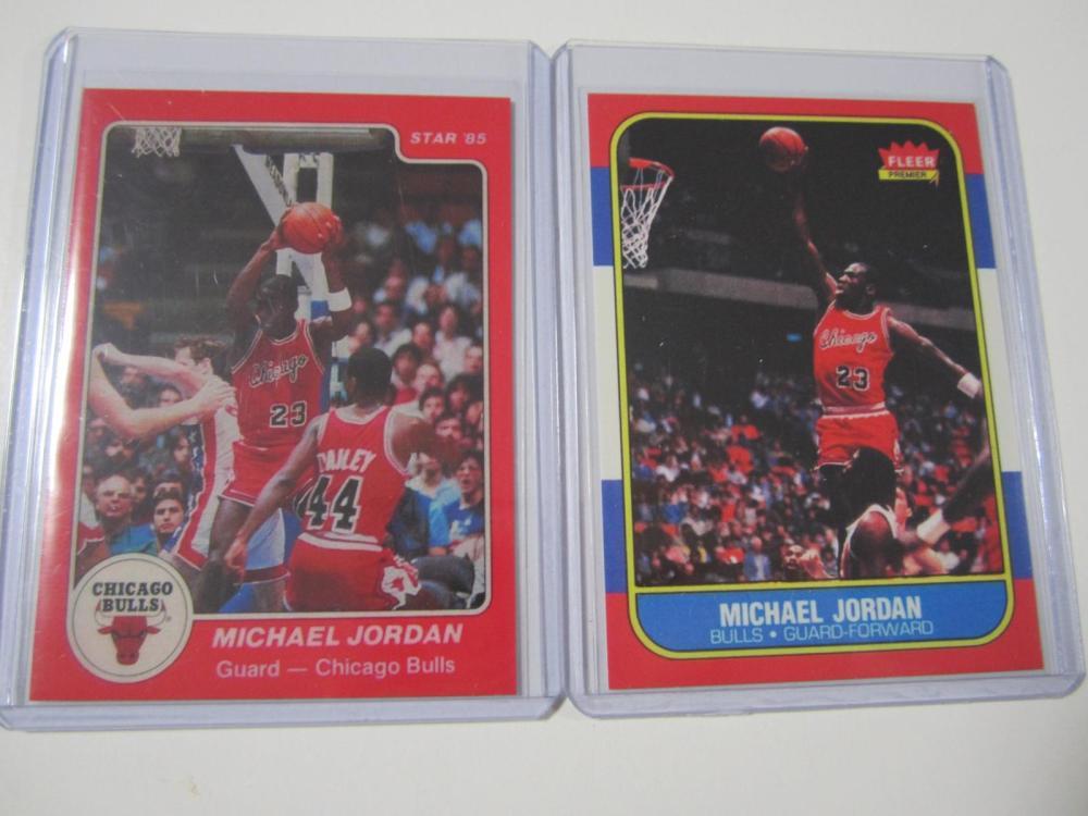 1984-1986 MICHAEL JORDAN STAR AND FLEER RC REPRINT CARDS