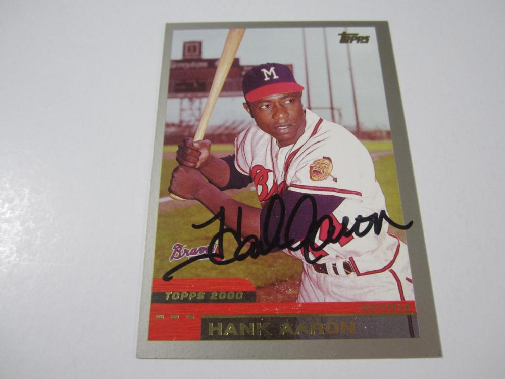Lot 170: HANK AARON SIGNED AUTOGRAPHED BRAVES CARD COA