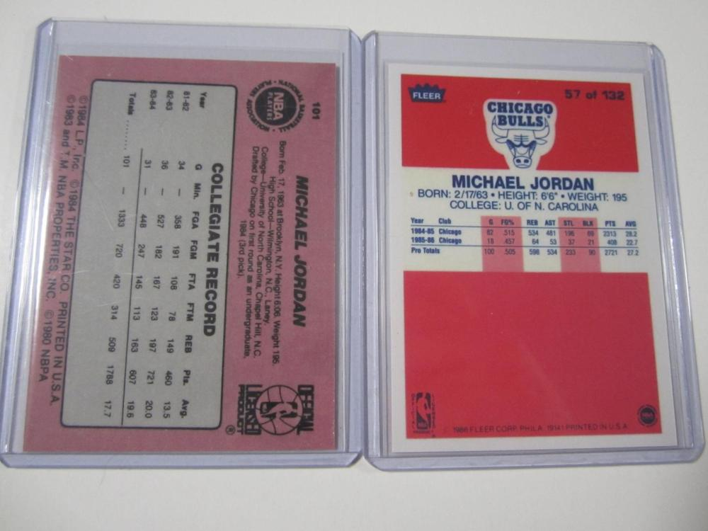 Lot 169: 1984-1986 MICHAEL JORDAN STAR AND FLEER RC REPRINT CARDS