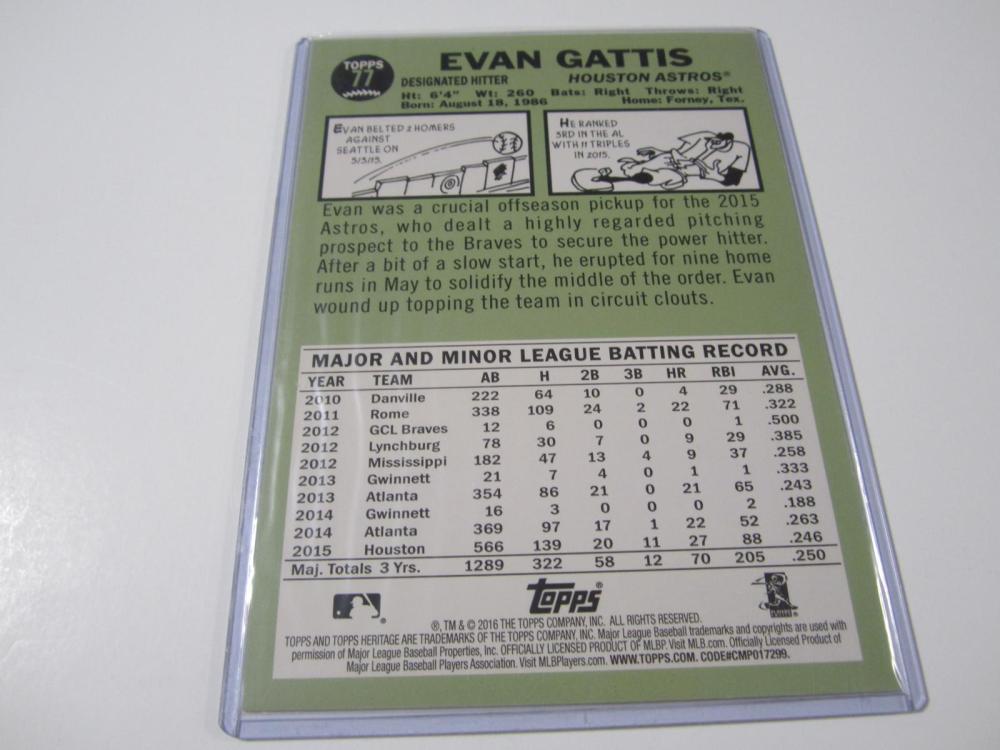 Lot 173: EVAN GATTIS SIGNED AUTOGRAPHED ASTROS CARD COA