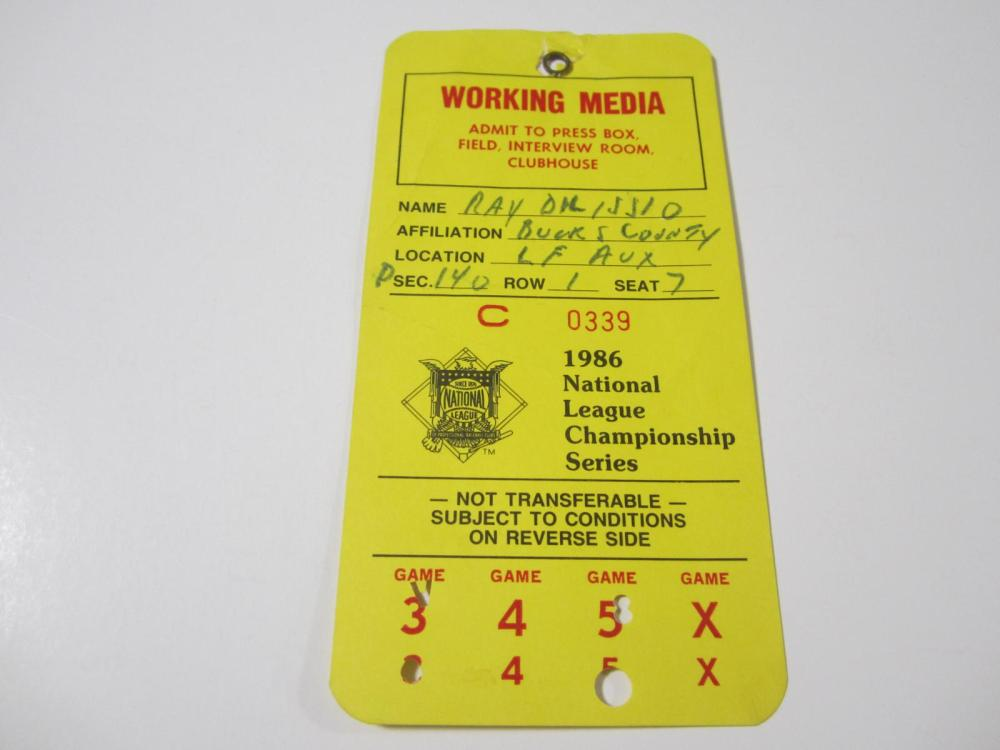 Lot 174: 1986 NATIONAL LEAGUE CHAMPIONSHIP SERIES WORKING MEDIA PASS