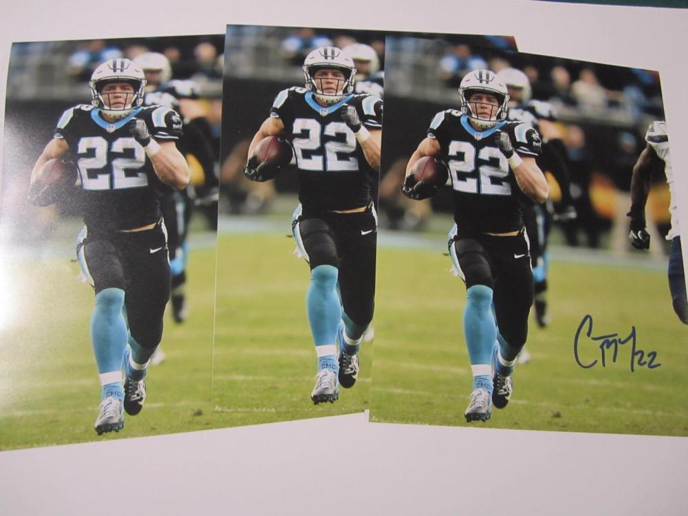 Lot 177: (3)CHRISTIAN MCCAFFREY SIGNED AUTOGRAPHED PANTHERS 8X10 COA