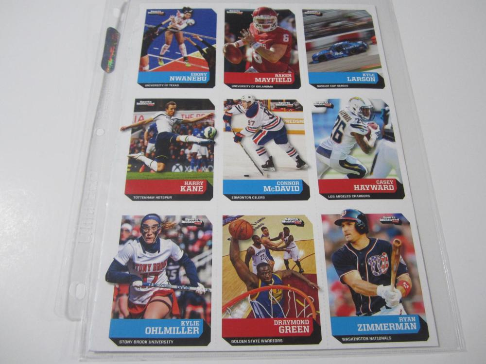 BAKER MAYFIELD SPORTS ILLUSTRATED FOR KIDS UNCUT ROOKIE CARD SHEET