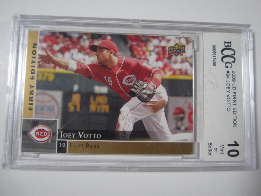 2009 UD FIRST EDITION JOEY VOTTO GRADED BCCG 10 MINT OR BETTER