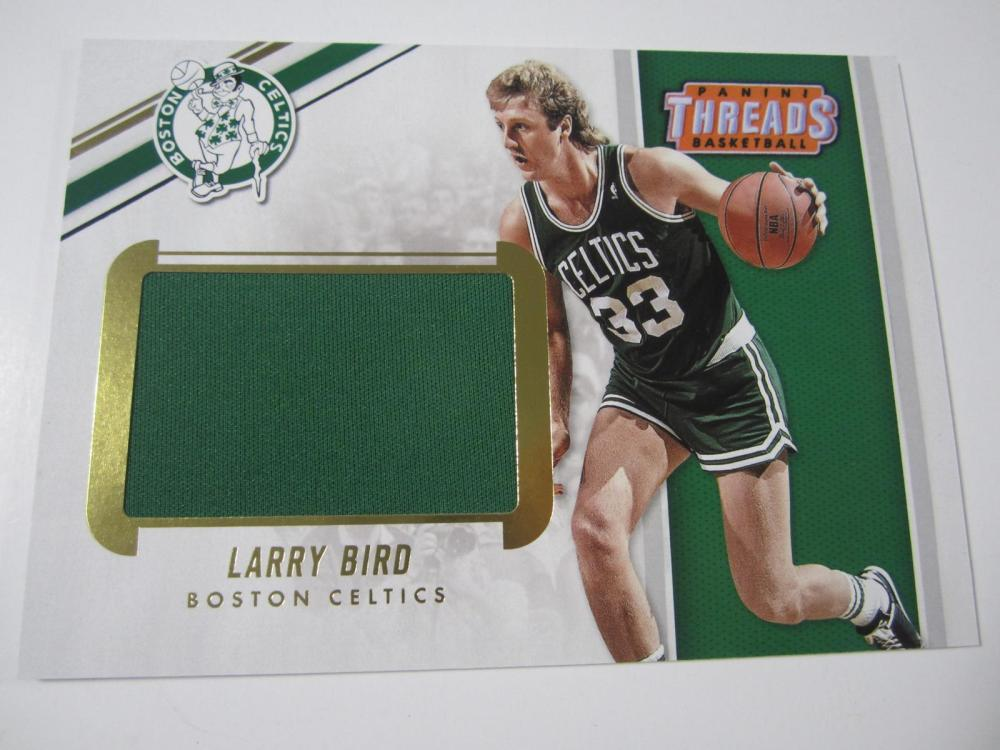 2017 PANINI BASKEBALL LARRY BIRD PIECE OF GAME USED CELTIC JERSEY CARD