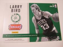 Lot 182: 2017 PANINI BASKEBALL LARRY BIRD PIECE OF GAME USED CELTIC JERSEY CARD