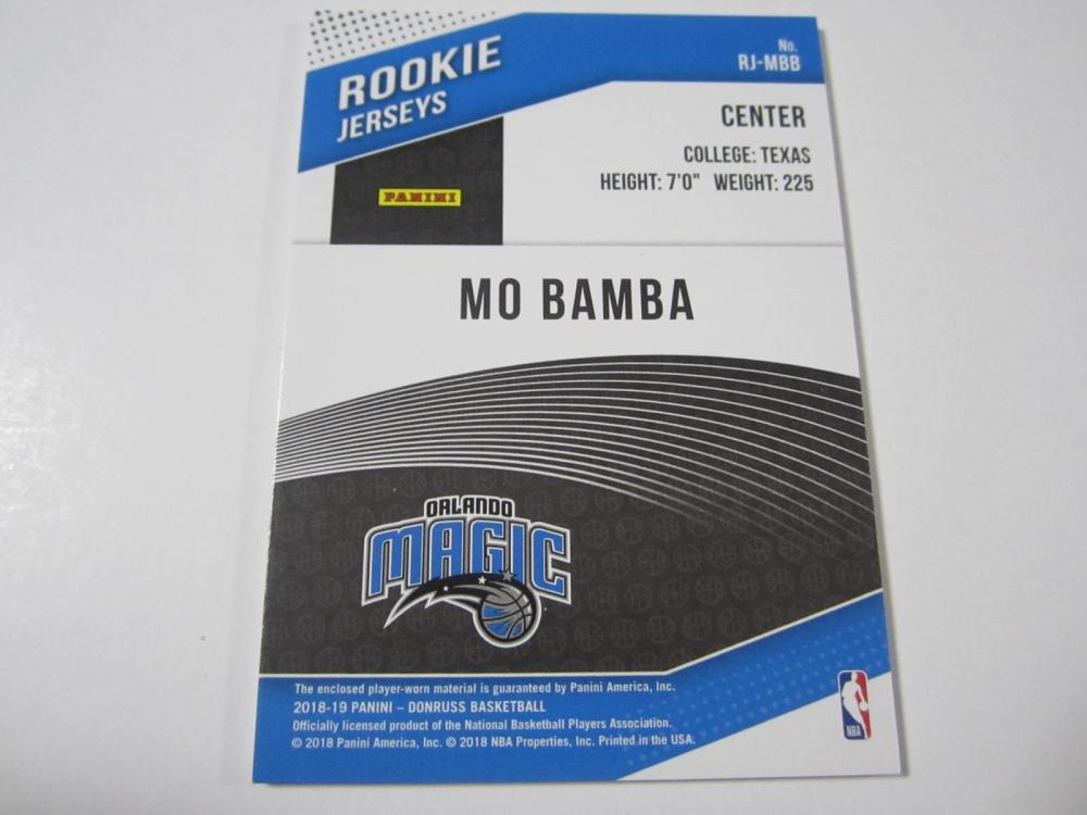 Lot 183: 2018 PANINI BASKETBALL MO BAMBA PIECE OF GAME USED MAGIC JERSEY CARD