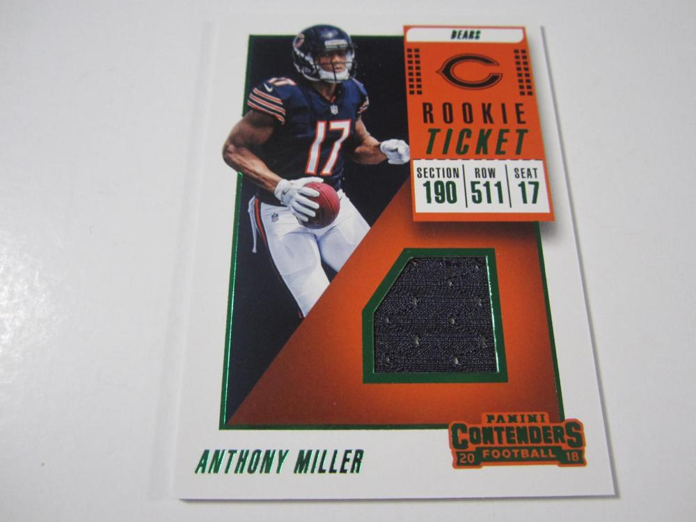 2018 PANINI FOOTBALL ANTHONY MILLER PIECE OF GAME USED BEARS JERSEY CARD