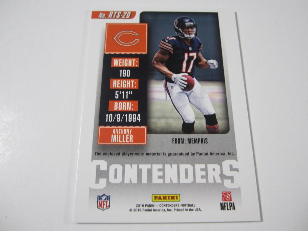 Lot 184: 2018 PANINI FOOTBALL ANTHONY MILLER PIECE OF GAME USED BEARS JERSEY CARD