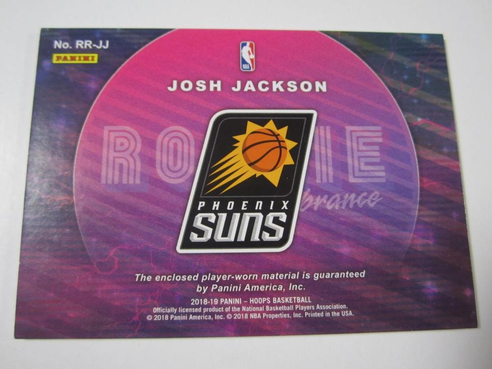 Lot 185: 2018 PANINI BASKETBALL JOSH JACKSON PIECE OF GAME USED SUNS JERSEY CARD