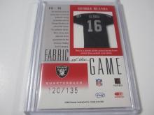 Lot 187: 2001 DONRUSS FOOTBALL GEORGE BLANDA PIECE OF GAME USED RAIDERS JERSEY CARD 120/135