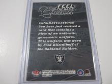 Lot 189: 2000 FLEER/SKYBOX FOOTBALL FRED BILETNIKOFF PIECE OF GAME USED RAIDERS JERSEY CARD