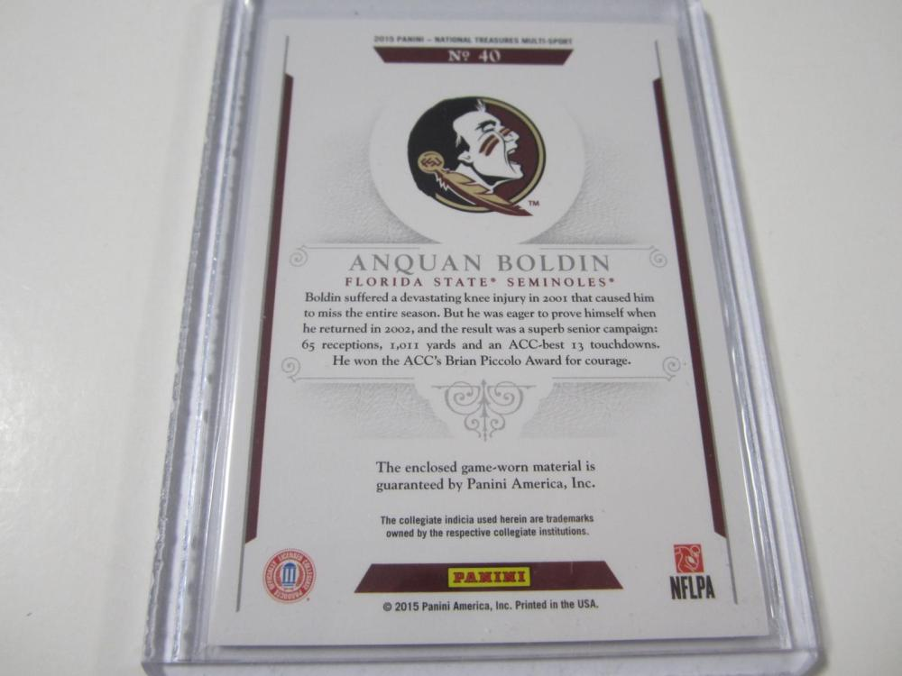 Lot 193: 2015 PANINI FOOTBALL ANQUAN BOLDIN PIECE OF GAME USED JERSEY CARD 1/25
