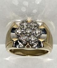 Kay's ZEI 14K gold 1.54 TCW SI1, H color diamonds on fire men's ring.