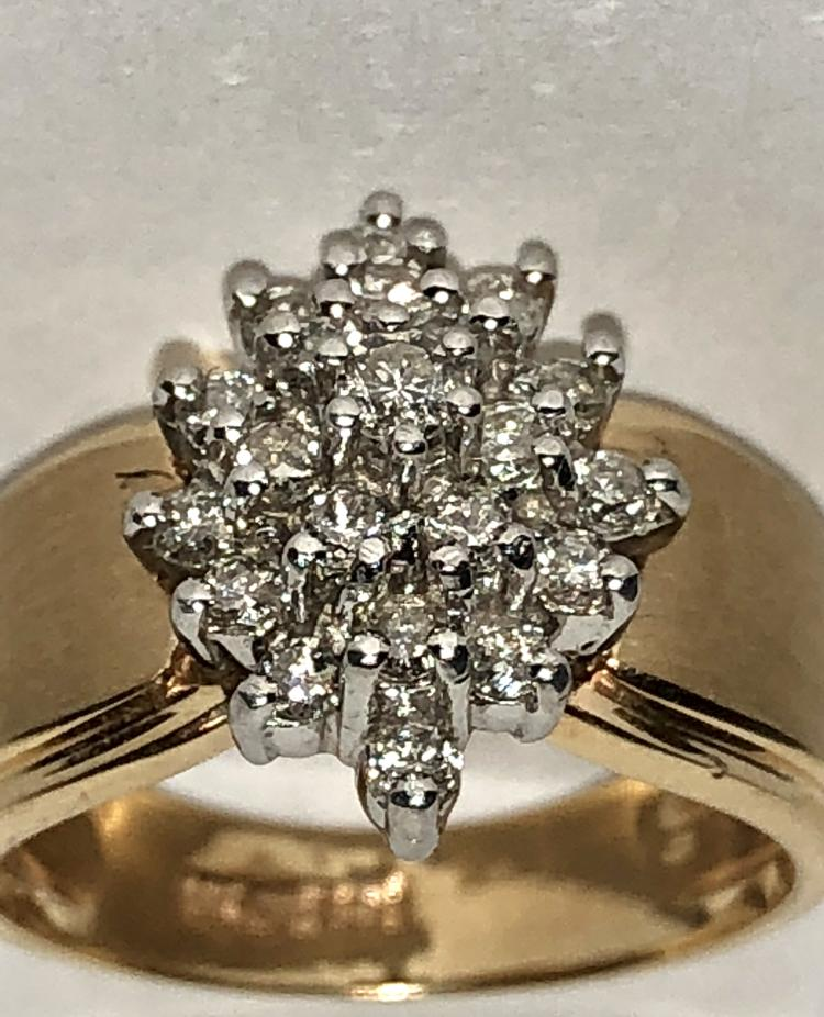 Zales 14k Yellow Gold 0 88 Tcw Si1 G Color Cluster Diamonds