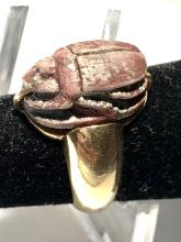 Antique 18K yellow gold heavy hand-made bug engraved scarab designer ring.