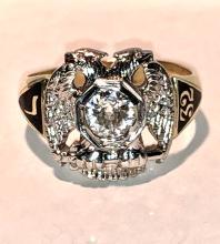 Antique 14K gold 0.87 CT european cut round SI1, H color diamond masonic men's 32nd degree ring.