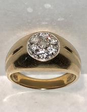 14K gold 0.56 TCW SI2, G color diamonds cluster men's ring.