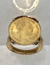 Rare 14K gold Franc Ios Avstraie Imperator Austrian pure gold coin ring.