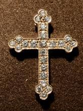 14K gold 0.50 TCW VVS2, G color diamonds on fire cross pendant.
