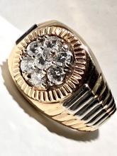 Custom 14K gold Rolex President 1.75 TCW VS2, F color diamonds men's ring.