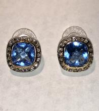 David Yurman sterling silver and 18K gold Blue Topaz and white sapphires earrings.