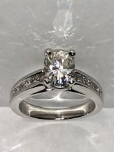 CERTIFIED 1.32 CT MOISSANITE 0.64 TCW VS1, G COLOR DIAMONDS 14K GOLD ENGAGEMENT RING.