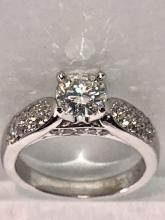 CERTIFIED 0.86 CT MOISSANITE 0.34 TCW DIAMONDS ON FIRE ENGAGEMENT RING.