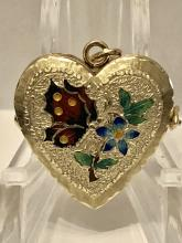ANTIQUE 14K GOLD HAND ENAMELED HEART LOCKET PENDANT.
