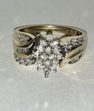 10K GOLD 0.75 TCW I1, I COLOR DIAMONDS CLUSTER COCKTAIL RING.