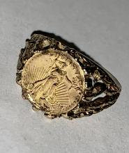 ANTIQUE 10K GOLD RING WITH INLAID 22K GOLD LIBERTY COIN.