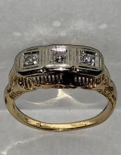 ANTIQUE 14K GOLD 0.10 TCW VS2, G COLOR EUROPEAN CUT DIAMONDS FILIGREE ART-DECO RING.